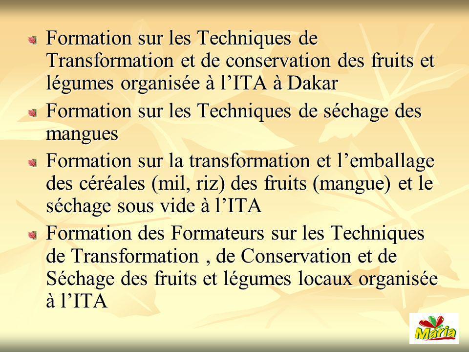 Formation sur les Techniques de Transformation et de conservation des fruits et légumes organisée à l'ITA à Dakar