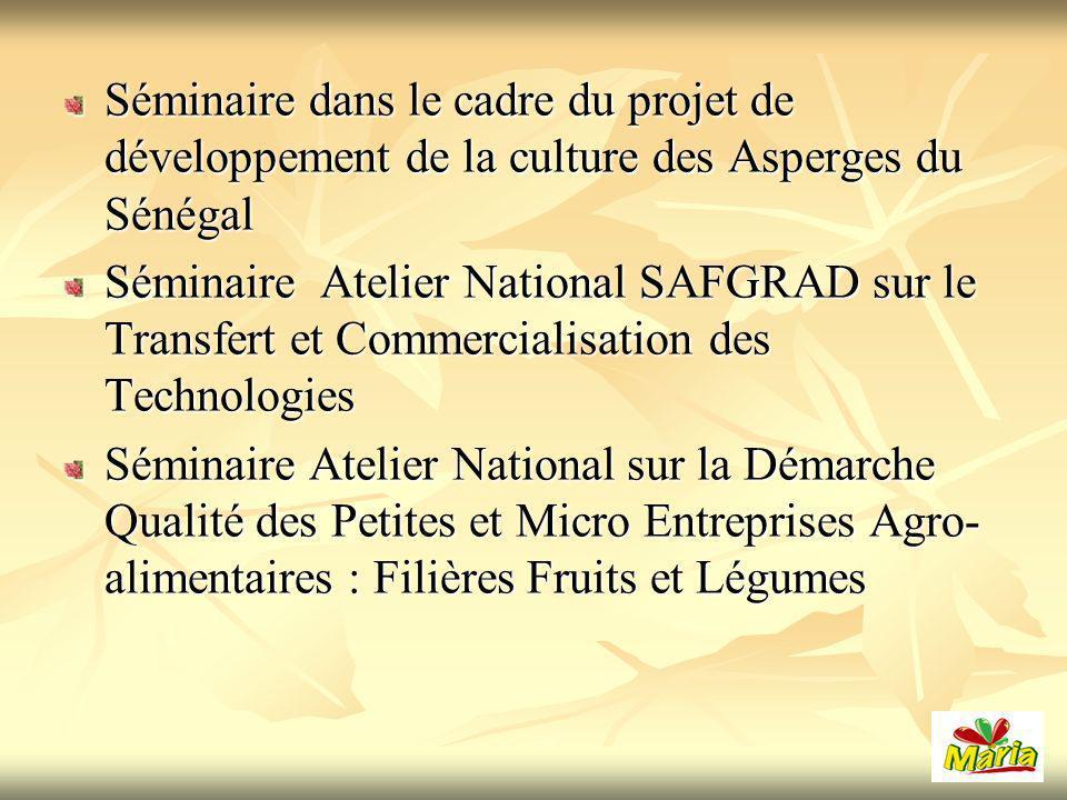 Séminaire dans le cadre du projet de développement de la culture des Asperges du Sénégal