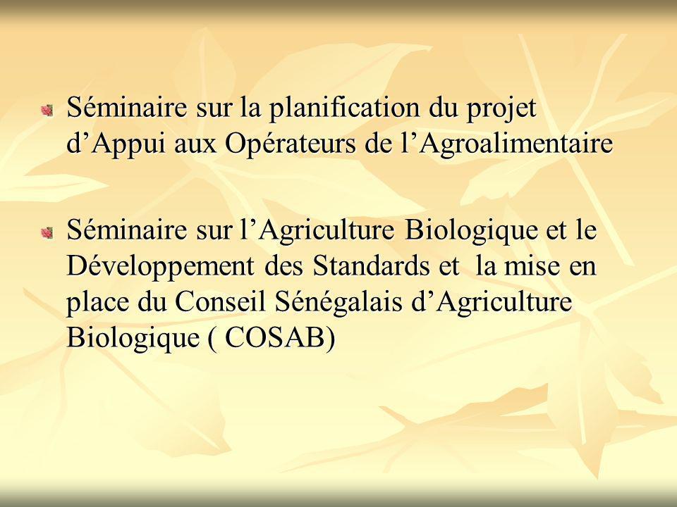 Séminaire sur la planification du projet d'Appui aux Opérateurs de l'Agroalimentaire