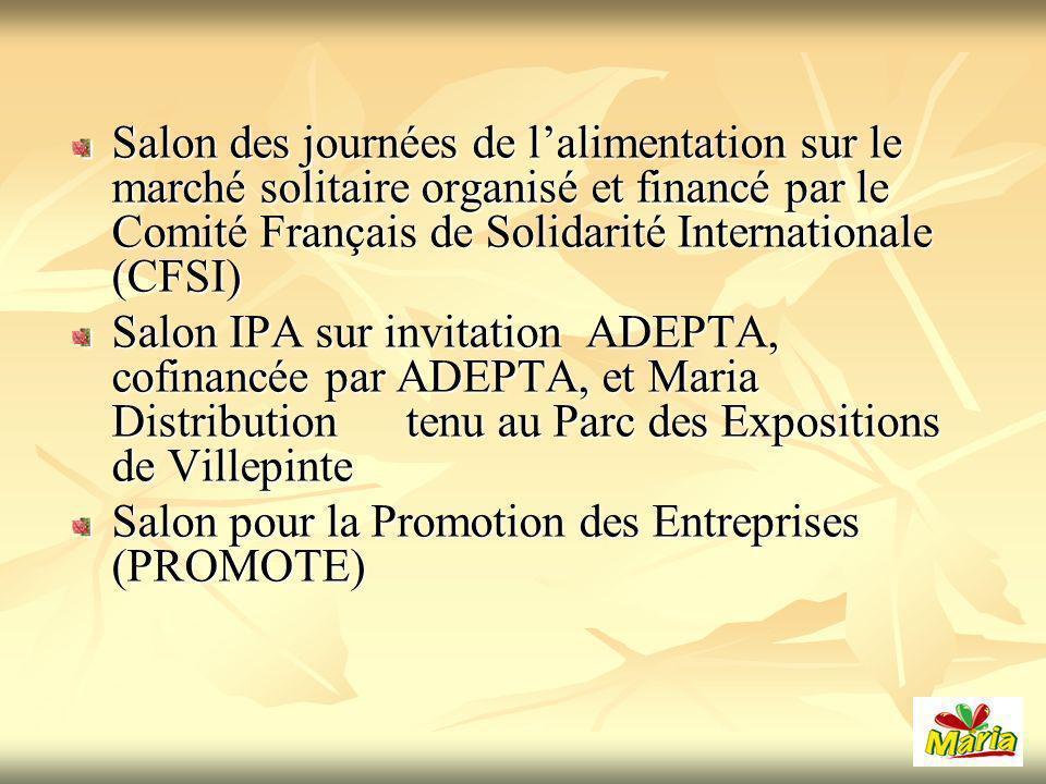 Salon des journées de l'alimentation sur le marché solitaire organisé et financé par le Comité Français de Solidarité Internationale (CFSI)
