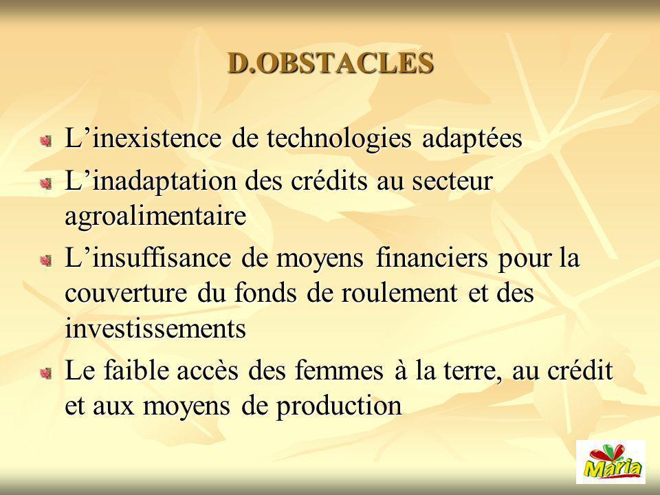 D.OBSTACLES L'inexistence de technologies adaptées. L'inadaptation des crédits au secteur agroalimentaire.