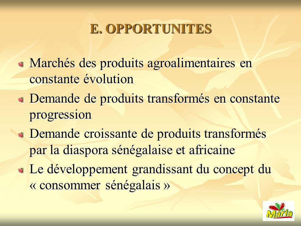E. OPPORTUNITES Marchés des produits agroalimentaires en constante évolution. Demande de produits transformés en constante progression.