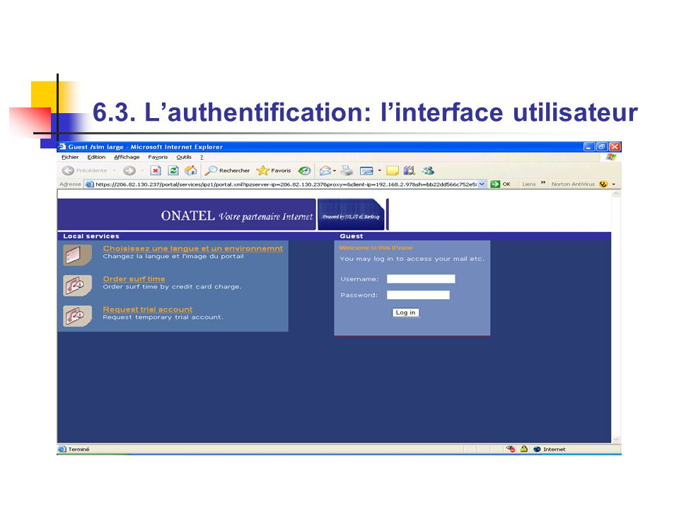6.3. L'authentification: l'interface utilisateur