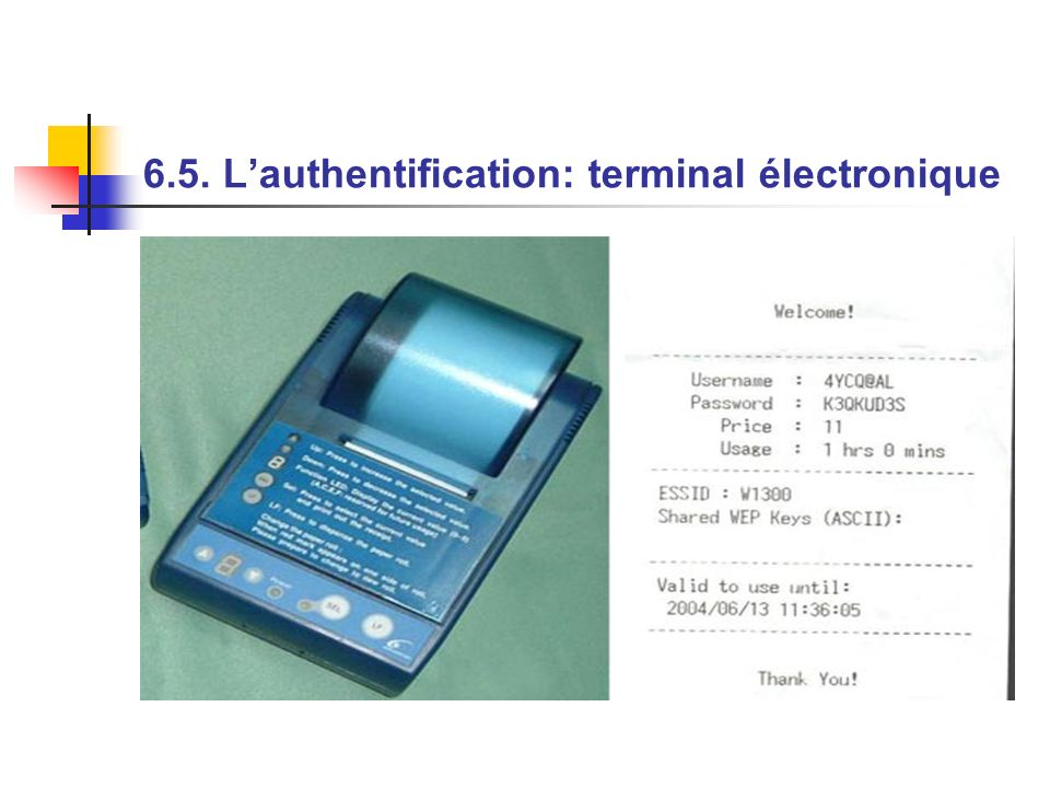 6.5. L'authentification: terminal électronique