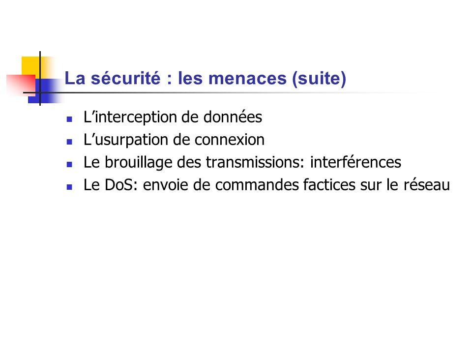 La sécurité : les menaces (suite)