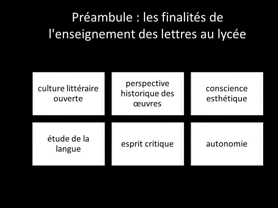 Préambule : les finalités de l enseignement des lettres au lycée