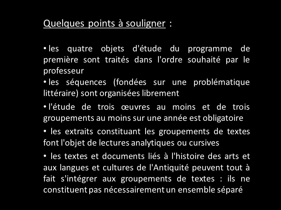 Quelques points à souligner :