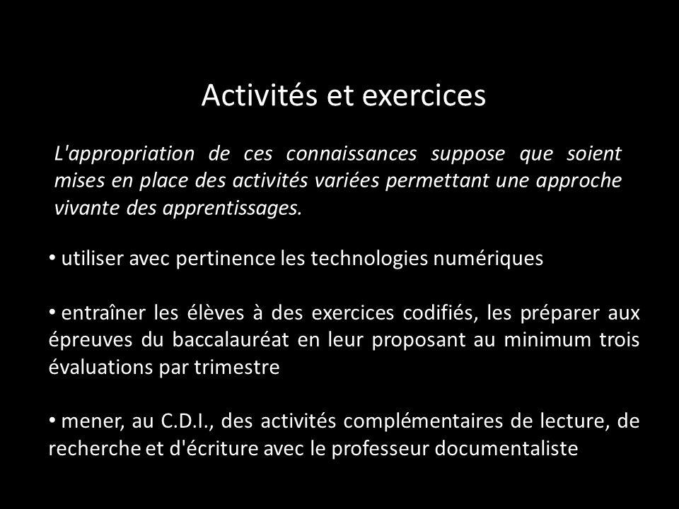 Activités et exercices