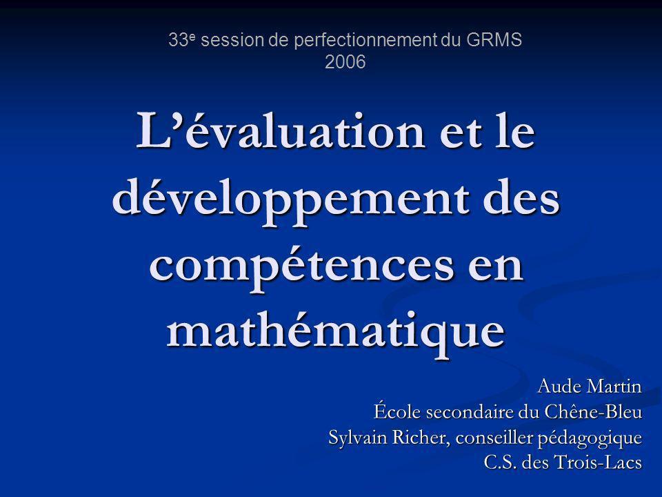 L'évaluation et le développement des compétences en mathématique