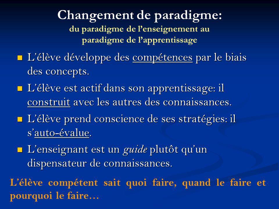 Changement de paradigme: du paradigme de l'enseignement au paradigme de l'apprentissage