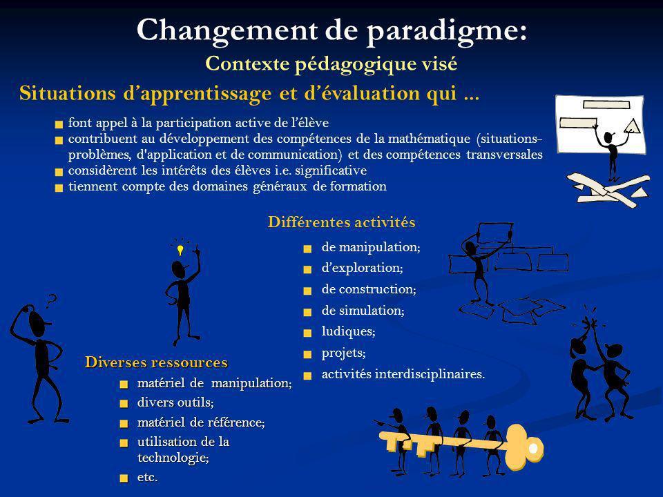 Changement de paradigme: Contexte pédagogique visé