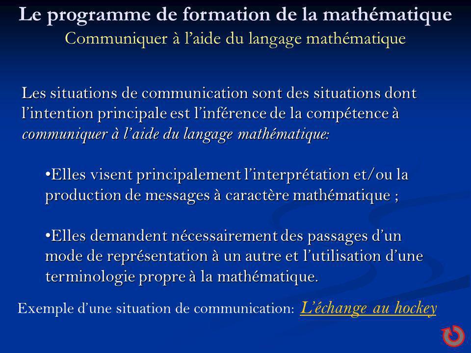 Le programme de formation de la mathématique Communiquer à l'aide du langage mathématique