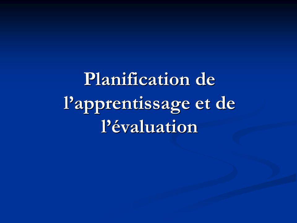 Planification de l'apprentissage et de l'évaluation