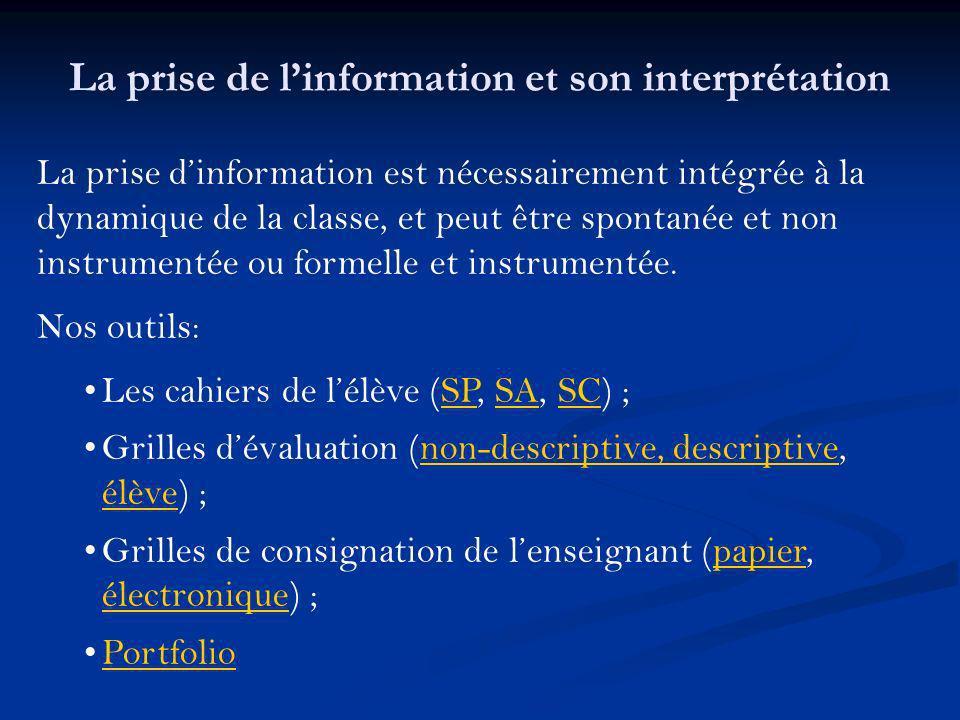 La prise de l'information et son interprétation