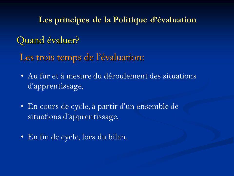 Les principes de la Politique d'évaluation