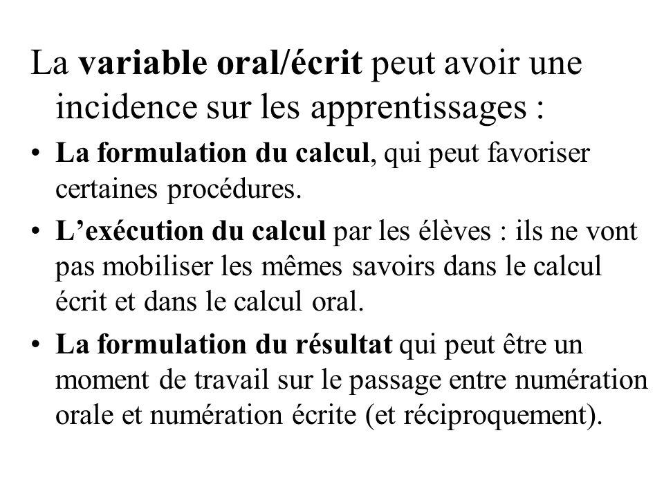 La variable oral/écrit peut avoir une incidence sur les apprentissages :