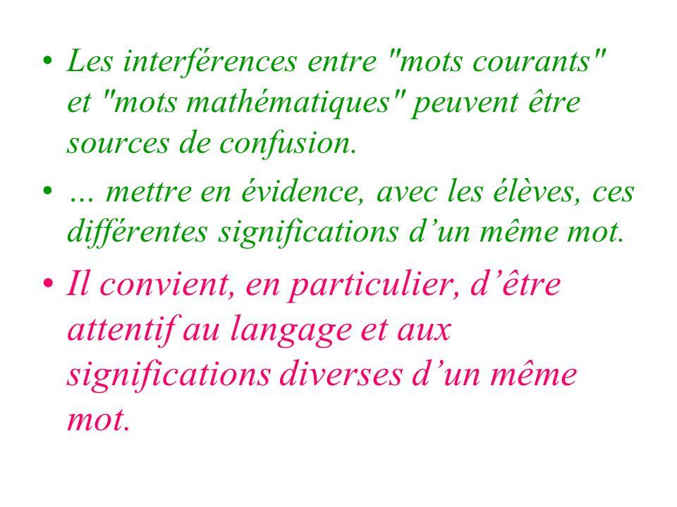 Les interférences entre mots courants et mots mathématiques peuvent être sources de confusion.