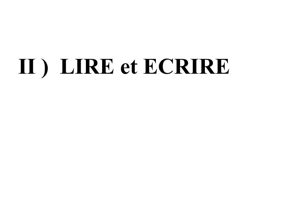 II ) LIRE et ECRIRE