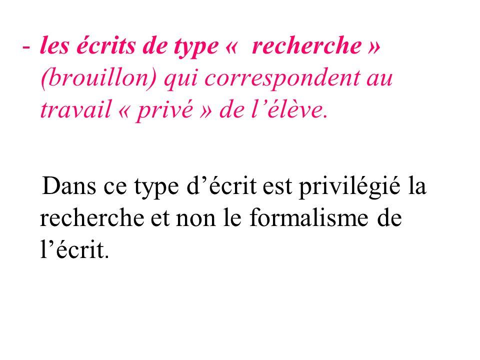 les écrits de type « recherche » (brouillon) qui correspondent au travail « privé » de l'élève.
