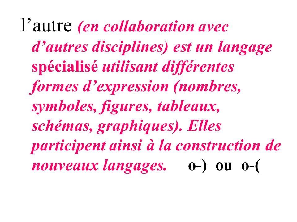 l'autre (en collaboration avec d'autres disciplines) est un langage spécialisé utilisant différentes formes d'expression (nombres, symboles, figures, tableaux, schémas, graphiques).