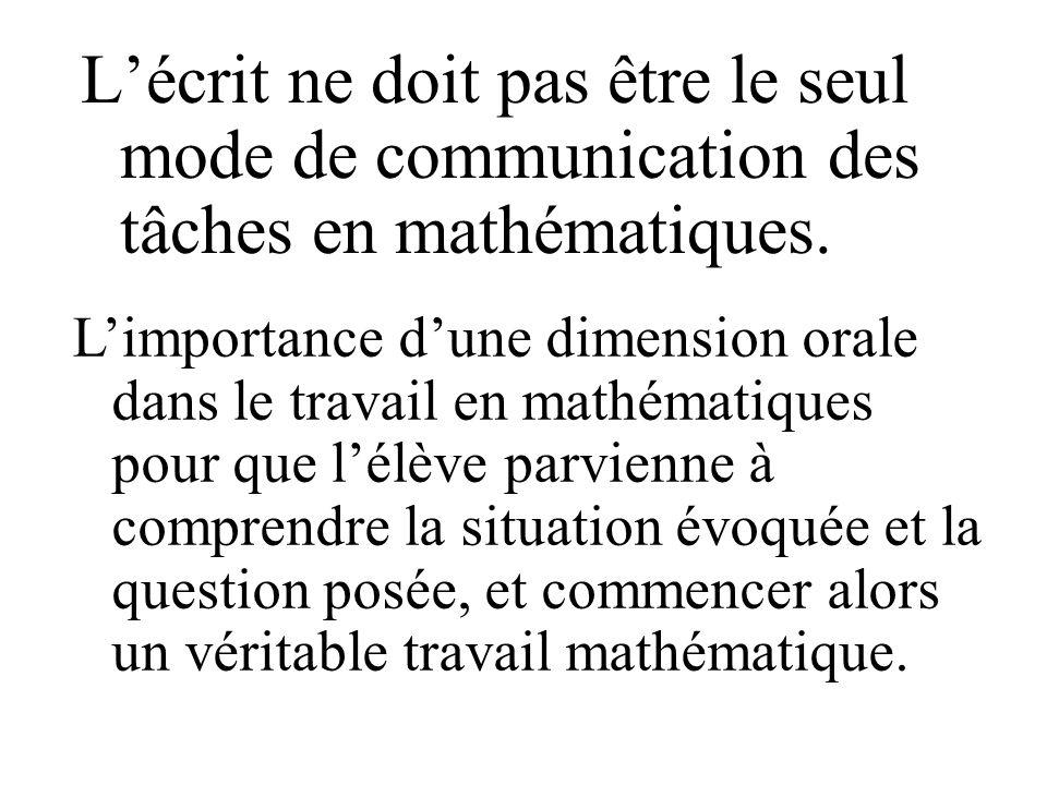 L'écrit ne doit pas être le seul mode de communication des tâches en mathématiques.