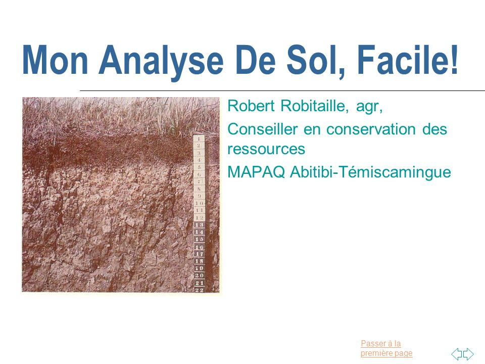 Mon analyse de sol facile ppt t l charger for Prix analyse de sol