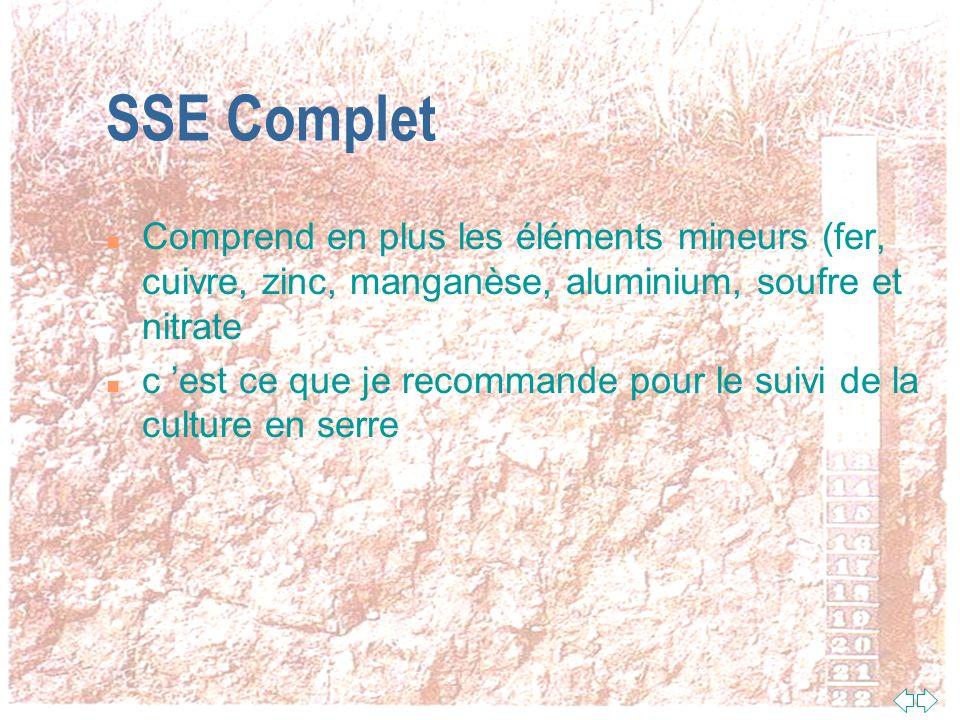 SSE Complet Comprend en plus les éléments mineurs (fer, cuivre, zinc, manganèse, aluminium, soufre et nitrate.