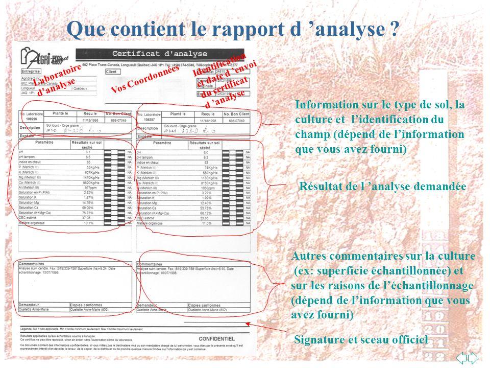 Que contient le rapport d 'analyse