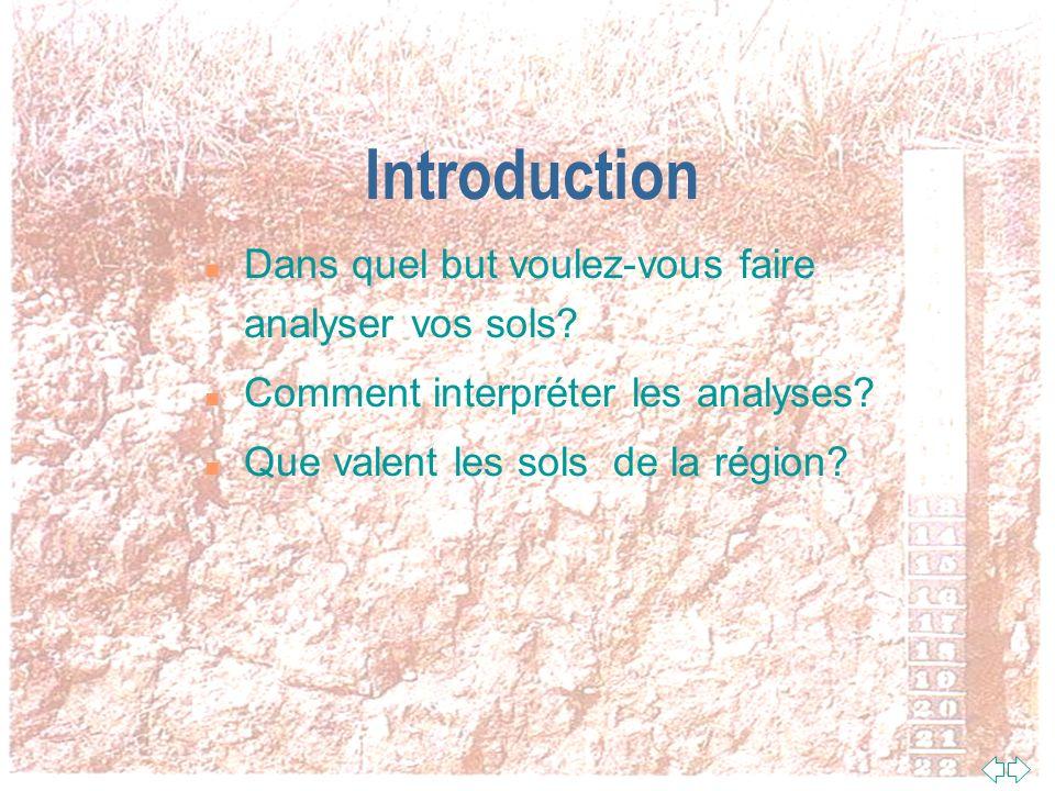 Introduction Dans quel but voulez-vous faire analyser vos sols