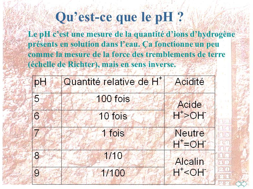 Qu'est-ce que le pH Le pH c'est une mesure de la quantité d'ions d'hydrogène. présents en solution dans l'eau. Ça fonctionne un peu.