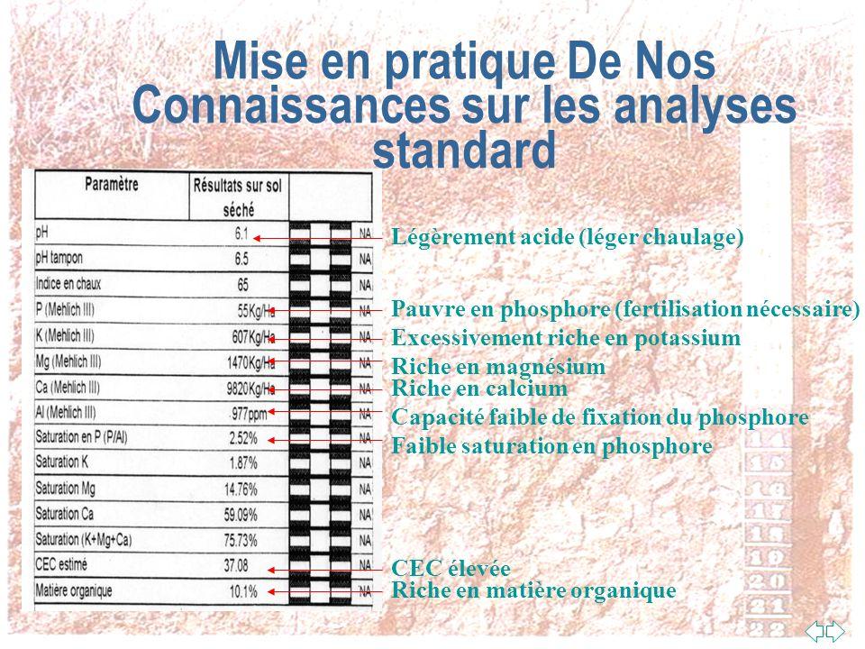 Mise en pratique De Nos Connaissances sur les analyses standard