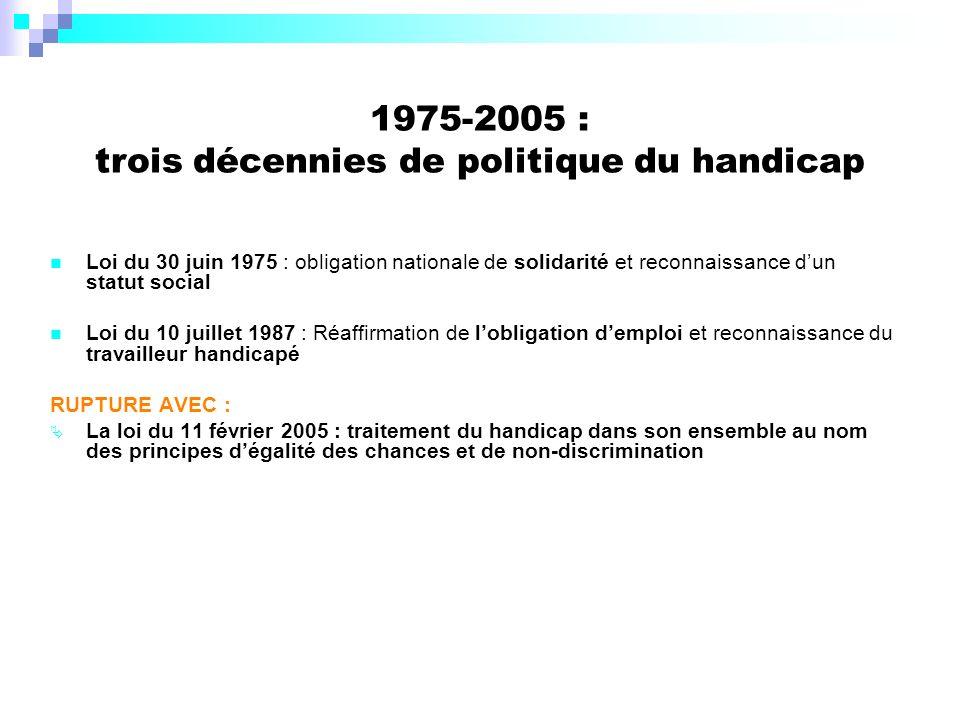 1975-2005 : trois décennies de politique du handicap