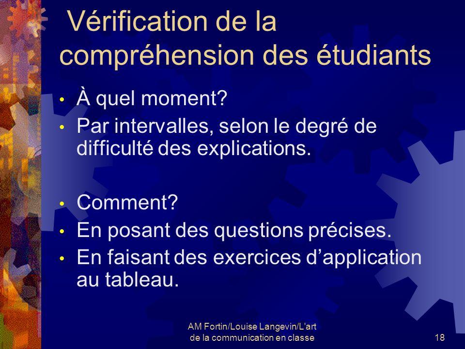 Vérification de la compréhension des étudiants