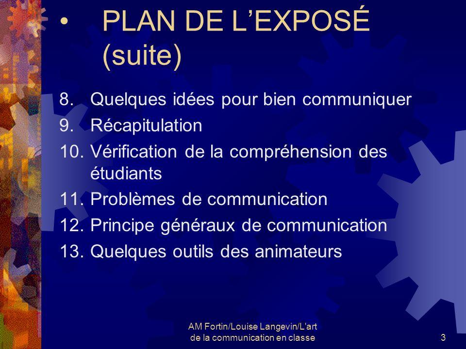 PLAN DE L'EXPOSÉ (suite)