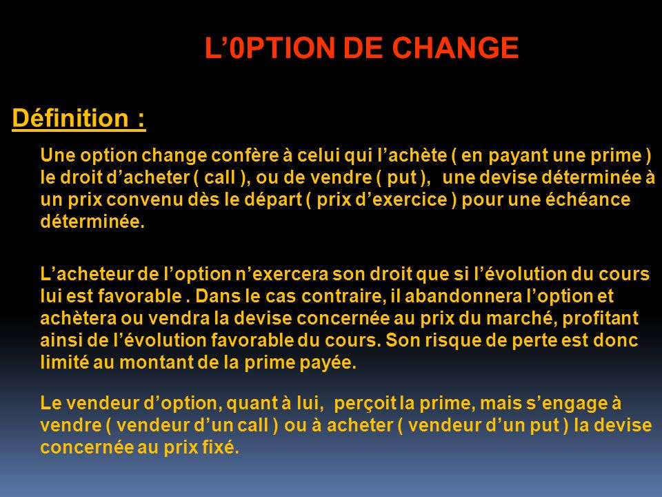 L'0PTION DE CHANGE Définition :