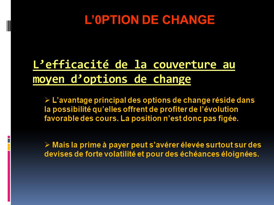 L'efficacité de la couverture au moyen d'options de change