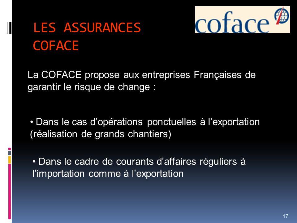 LES ASSURANCES COFACE La COFACE propose aux entreprises Françaises de garantir le risque de change :