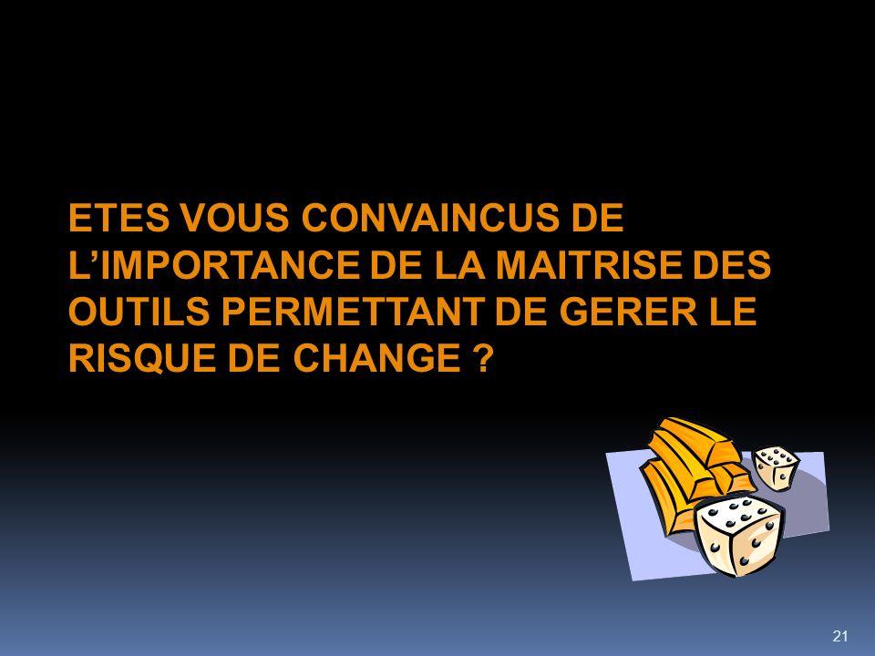 ETES VOUS CONVAINCUS DE L'IMPORTANCE DE LA MAITRISE DES OUTILS PERMETTANT DE GERER LE RISQUE DE CHANGE