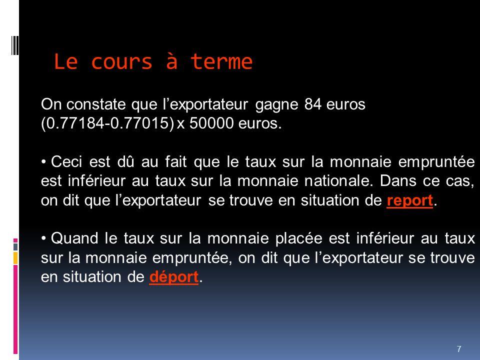 Le cours à terme On constate que l'exportateur gagne 84 euros