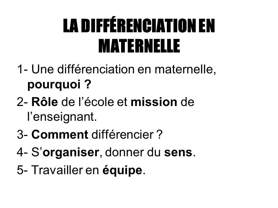 LA DIFFÉRENCIATION EN MATERNELLE