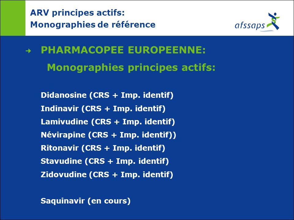ARV principes actifs: Monographies de référence