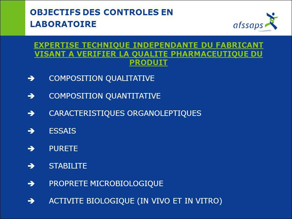 OBJECTIFS DES CONTROLES EN LABORATOIRE