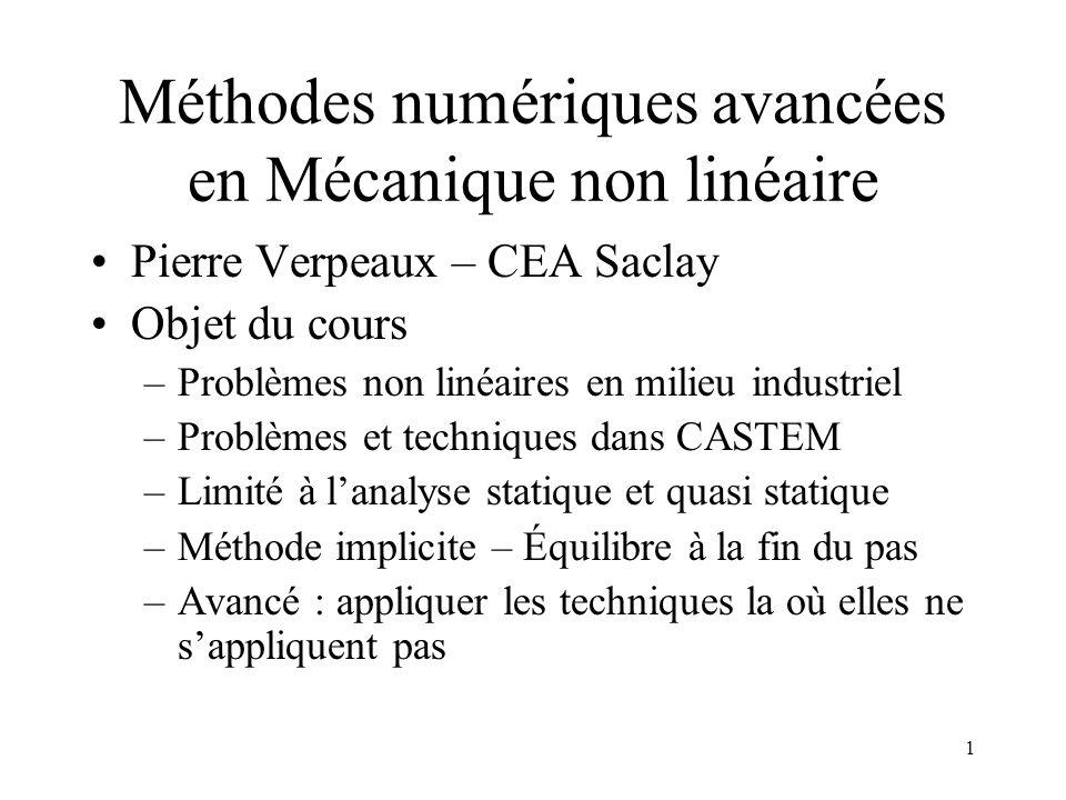 Méthodes numériques avancées en Mécanique non linéaire
