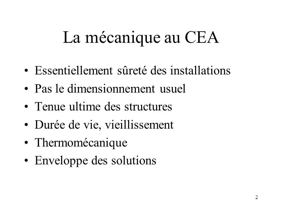 La mécanique au CEA Essentiellement sûreté des installations