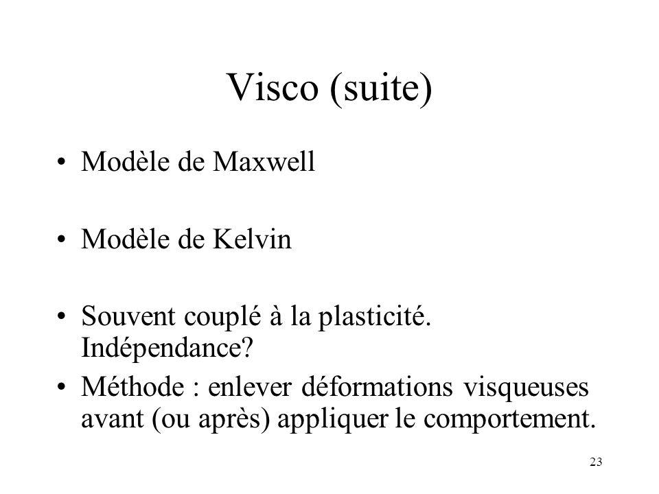 Visco (suite) Modèle de Maxwell Modèle de Kelvin