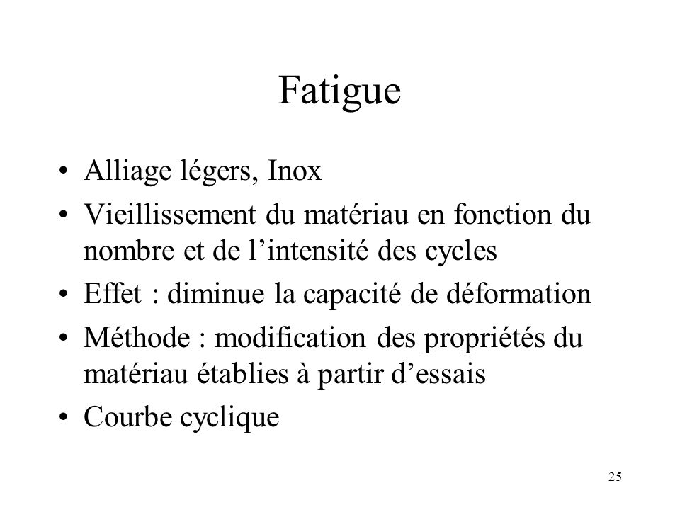 Fatigue Alliage légers, Inox