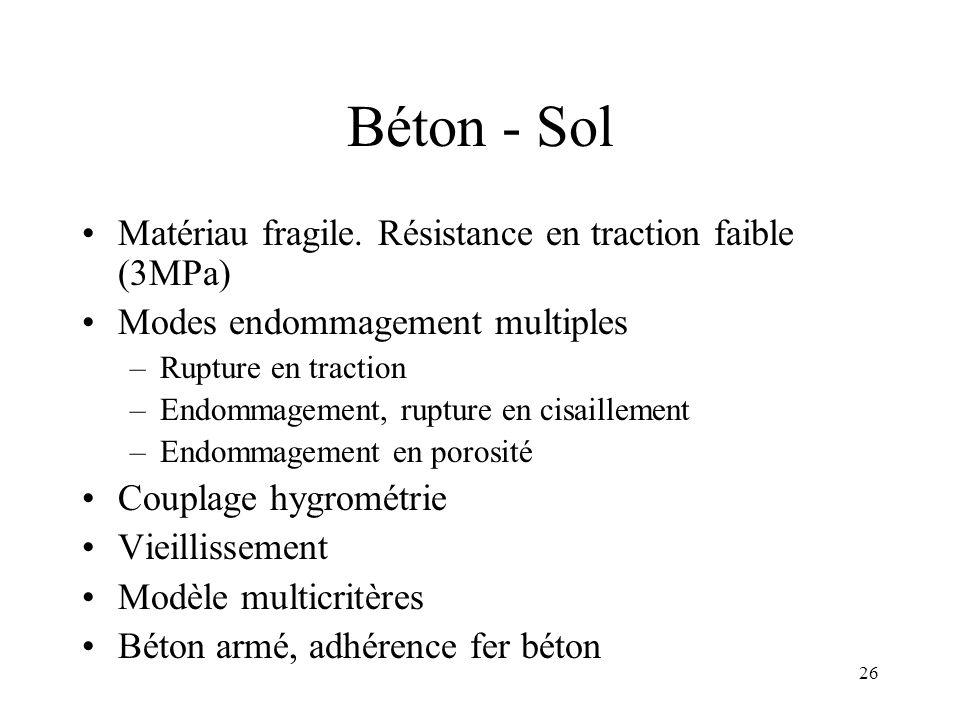 Béton - Sol Matériau fragile. Résistance en traction faible (3MPa)