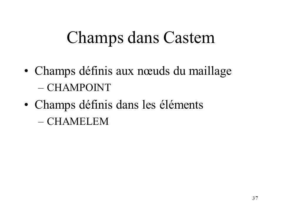 Champs dans Castem Champs définis aux nœuds du maillage