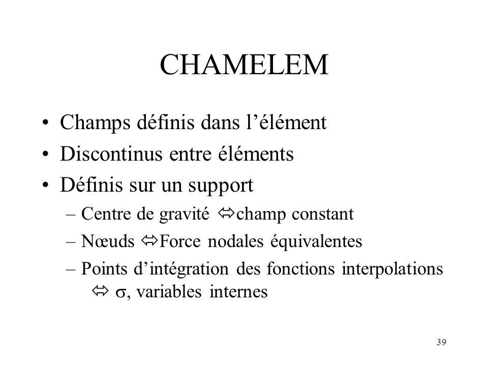 CHAMELEM Champs définis dans l'élément Discontinus entre éléments