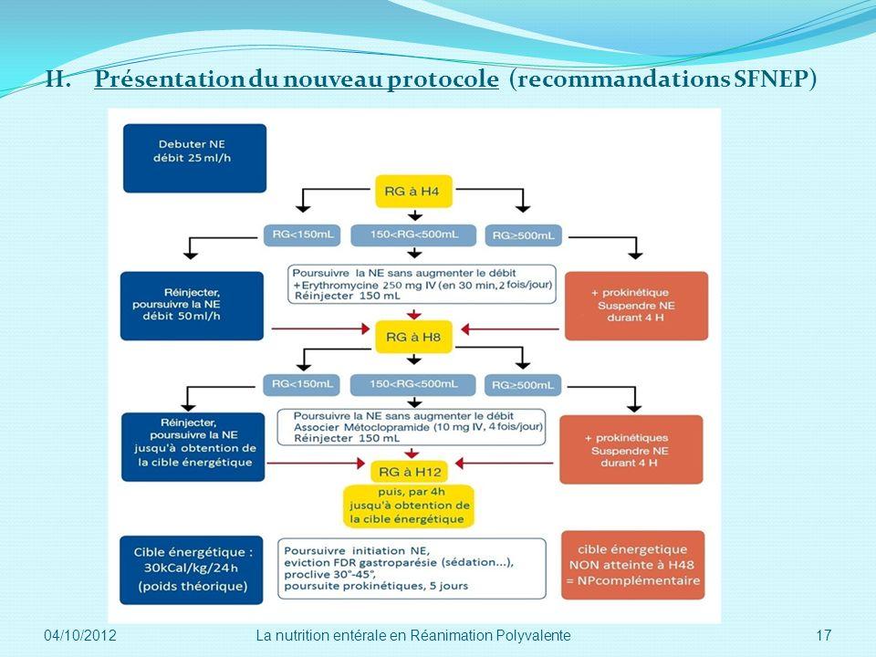 II. Présentation du nouveau protocole (recommandations SFNEP)